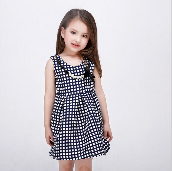 d29b5e530 2016 New Style European Baby Girl Princess Dress Fashion Plaid Dresses  Girls Summer Sleeveless Vestido Infantil Kids Clothes