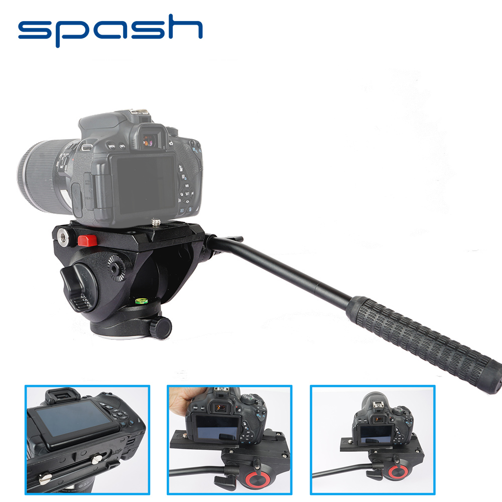 spash Video Photography Fluid Drag Head Hydraulic Tripod Head Quick Release Plate Bubble Levels Panoramic Shooting Bird Watching asxmov alum 8kg payload hydraulic tripod head panoramic head for camera video shooting photography tripod head