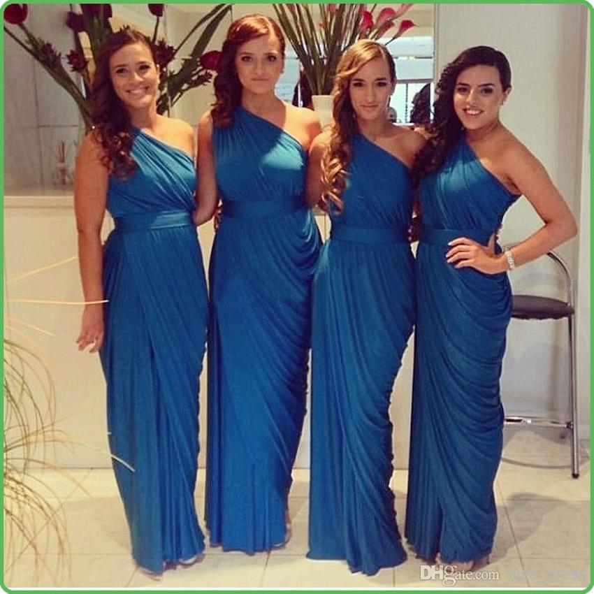 2014 Hot Sales Blue Bridesmaid Dresses One Shoulder Ruffles Sash Floor Length Sheah Chiffon Formal Gowns Custom Made