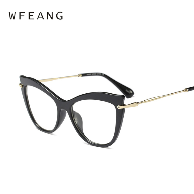 WFEANG Ladies Cat Eye Glasses Frames Women Red Pink Optical EyeGlasses Fashion Prescription Eyewear Computer Glasses