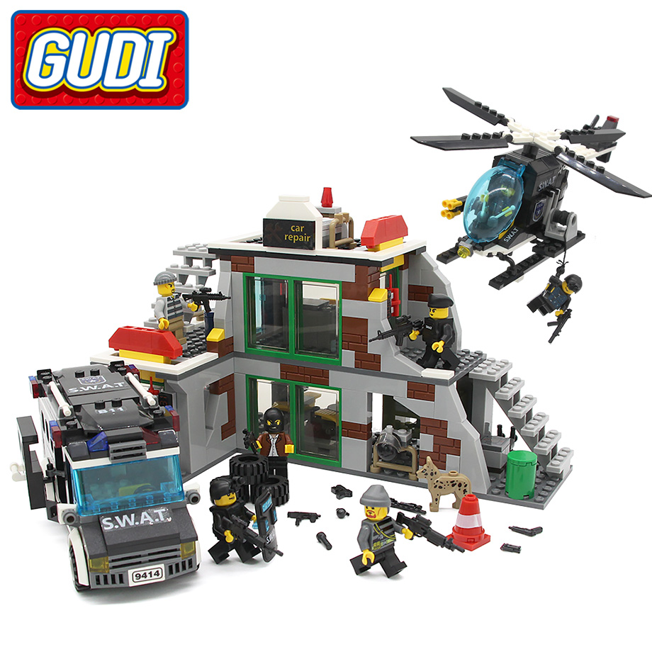 GUDI The SWAT raid terrorists dens Blocks 703pcs Bricks Building Blocks Set Models Educational Kids Legoingly Toys For Children new building blocks ninja emmet wyldstyle sheriff gordon zola bad cop robo swat brick toys for children l009 016