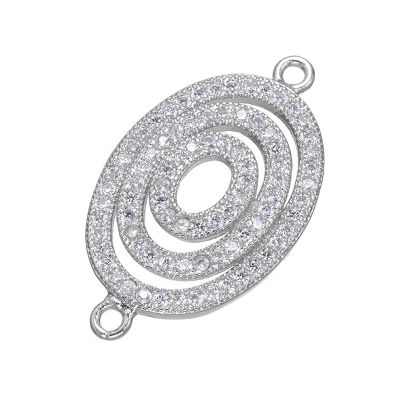 2017 Luxury Design Gold/Silver Plated Zircon Bracelet Pendant Charm Connectors CZ jewelry findings components