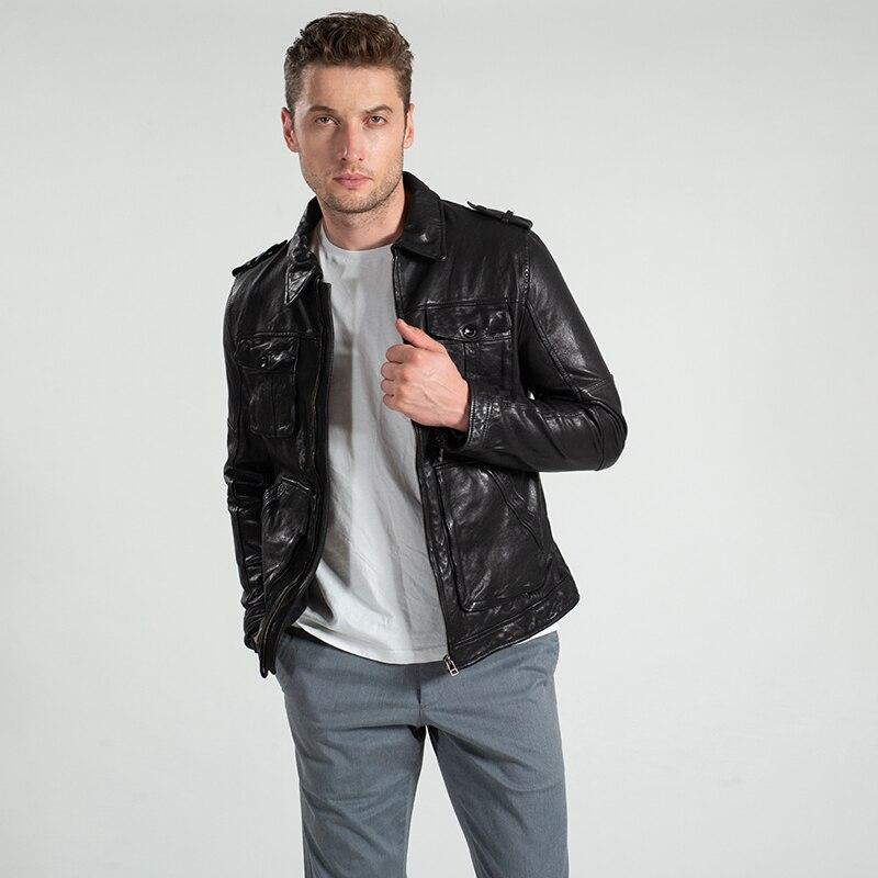 Mode Schwarz Mantel Slim Jacke Zwetschge Harley Taschen Casual Echtem Black Schaffell Fit Stil England Doppel Männer Kurze Leder 45txnHa1