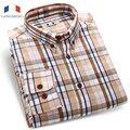 Langmeng 2016 мода плед мужская повседневная рубашка 100% хлопок с длинным рукавом весна осень горячий продавать платья рубашки мужчин camisa masculina