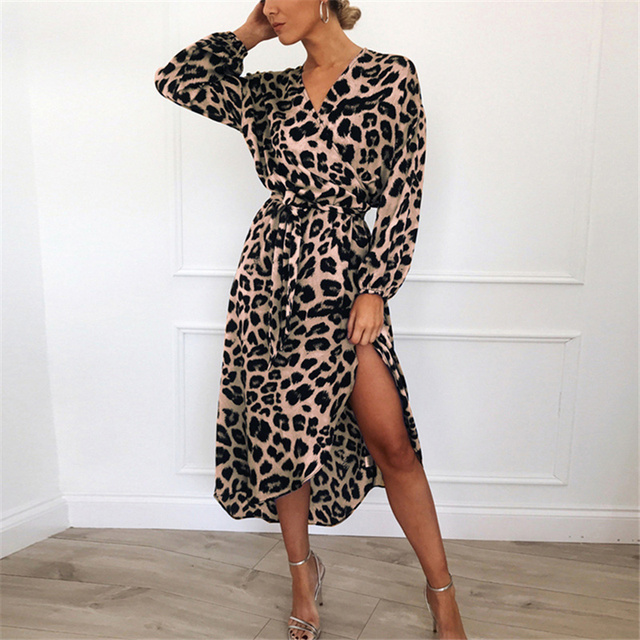 2019 Casual Leopard Print Long Sleeve Chiffon Dress Autumn Spring Elegant Ladies Dress Sexy V neck