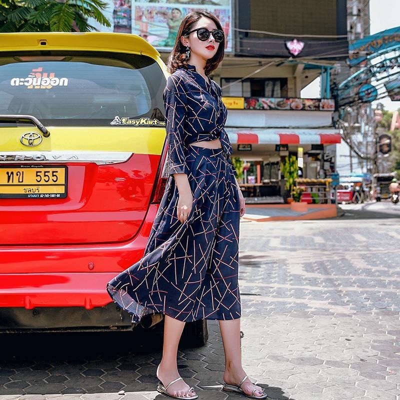 Donna Vestito Autunno Rosso Stampa Blu Grano Hepburn Moda Blu Manicotto Fluido Sexy Dell'annata rosso Del Di Dei Caso Sistemi Quarti Europa Tre Primavera FwqRxTxH