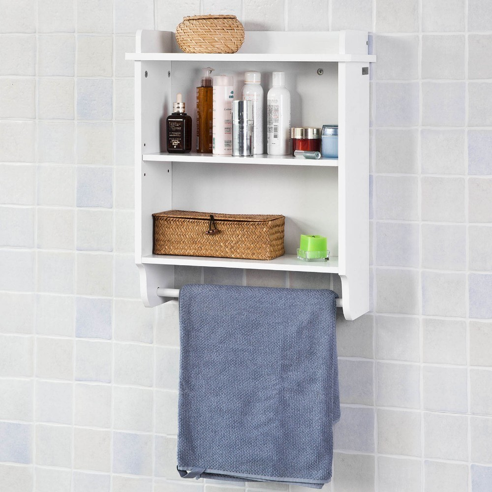 SoBuy FRG239-W, Wall Mounted Bathroom Shelf Kitchen Cabinet, Wall Shelf Storage Display Shelf with 3 Shelves + 1 Hanging Rail wall hanging shelf metal