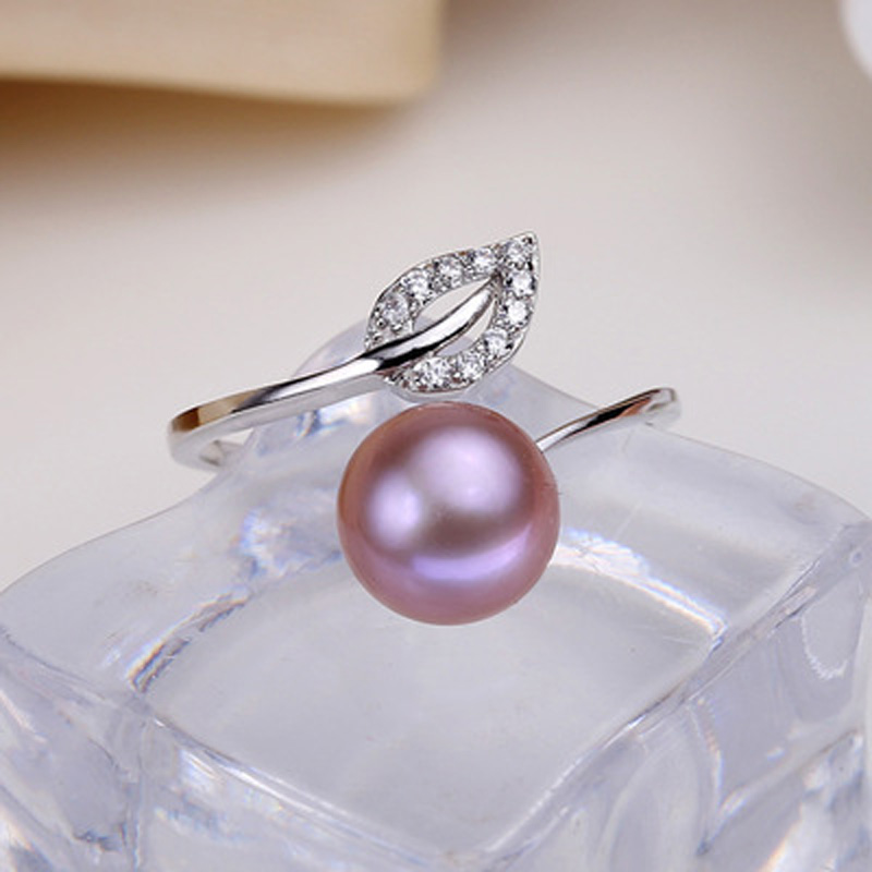 ASHIQI Natural pearl 925 Sterling Silver Rings Leaf jewelry 8-9mm Real freshwater pearl white pink purple Open Finger ring