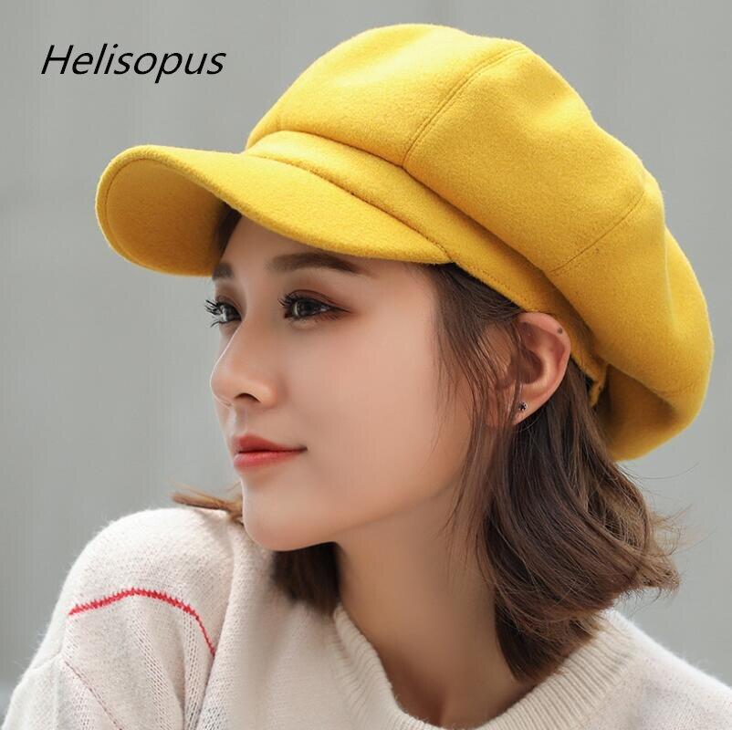 5cddc2f0ddef8 Helisopus nueva moda de lana gorra Octagonal gorra sombreros mujer 8 colores  Otoño e Invierno elegante artista pintor vendedor tapas boina sombreros