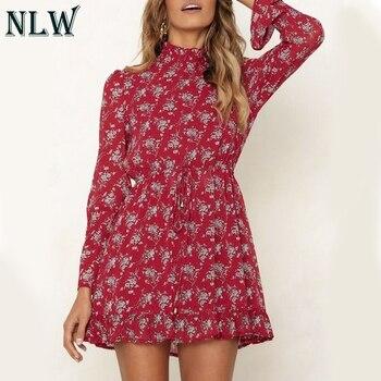 b05c10bb6d86 NLW Chiffon invierno vestido de fiesta femenino mujeres de manga larga  cuello alto rojo corto Casual vestido elegante volantes Vestidos