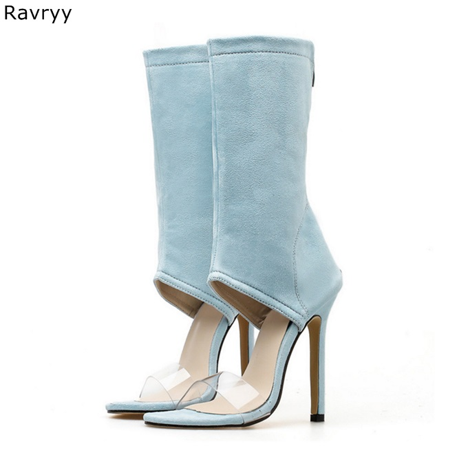 Toe Ins Azul Fino Femeninos As Botín Zapatos Sandalia Gamuza Cuero Botas Altos Peep Cortas Mujer Moda Elástico Tacones De Talón Picture 6wrB6A