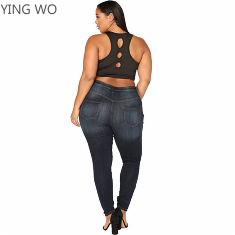 2018 New Spring Fashion Woman Plus Size Denim Jeans L 5XL Big Ladies Middle  Waistline Bleached Ripped Cut out Knee Pencil Pants -in Jeans from Women s  ... b629341b3151