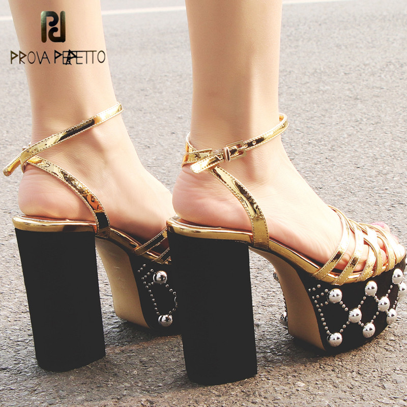 Prava Perfetto Women Sexy Platform High Heels Sandals New Fashion Ankle Strap 12cm Bling Rivets Big Size Summer Party Shoes big size 32 43 fashion party shoes woman sexy high heels platform summer pumps ankle strap sandals women shoes