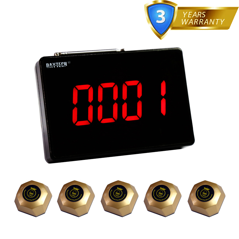 Daytech Pager Wireless Calling System 1 Host Display+5 Table Bells Call Button  Restaurant Paging System Waiter Service Calling restaurant wireless table bell system ce passed restaurant made in china good supplier 433 92mhz 2 display 45 call button