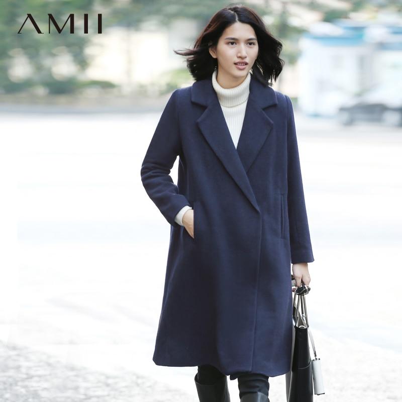 Amii Casual Women Woolen Coat 2018 Winter Wide-waisted Turn-down Collar Solid Female Wool Blends