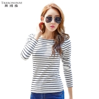 Spring New 2017 Long Sleeve Striped Undershirt Women Tops Female Cotton T Shirt Slash Neck Large