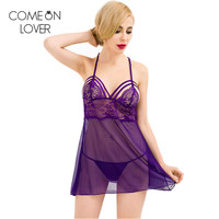 RE80300 Plus Size Lingeire For Lady Nightwear 2016 Fashion Hot Sexy Transparent Nightwear Purple Style Erotic