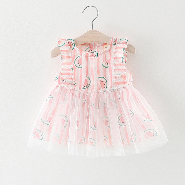 3b1a4aae9412 2017 Newest Summer Cute Lace Baby Girls Dress Korean Style Trendy  Watermelon Beautiful Princess Clothes Kids Children s Costume