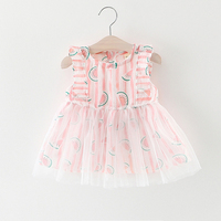 2017 Newest Summer Cute Lace Baby Girls Dress Korean Style Trendy Watermelon Beautiful Princess Clothes Kids