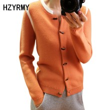 HZYRMY Spring Autumn New Womens Cashmere Sweater Cardigan Fashion Round Collar spell Color jacket High Quality Loose Soft Shirt