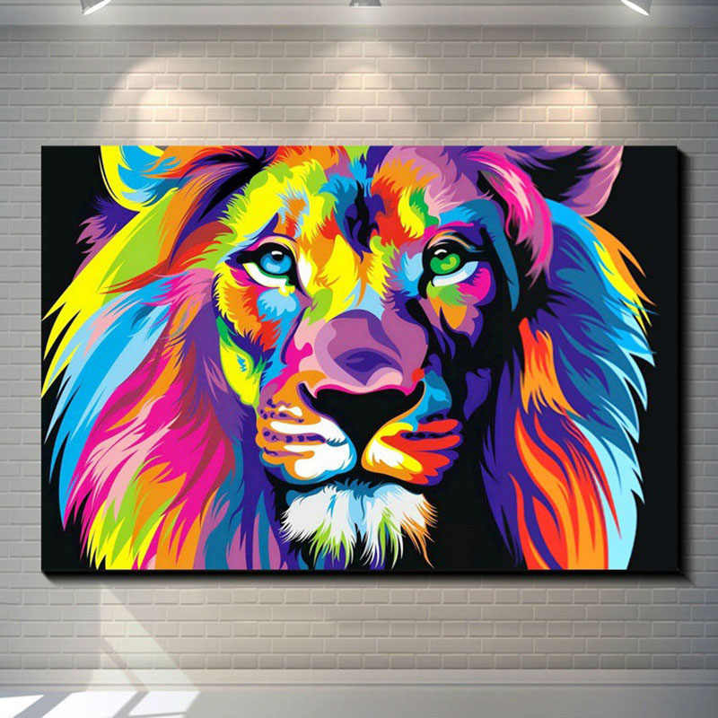 Frameless Colorful Lion Animals Abstract Painting Digital Painting Finished Painting Wall Art Picture For Home Wall Artwork