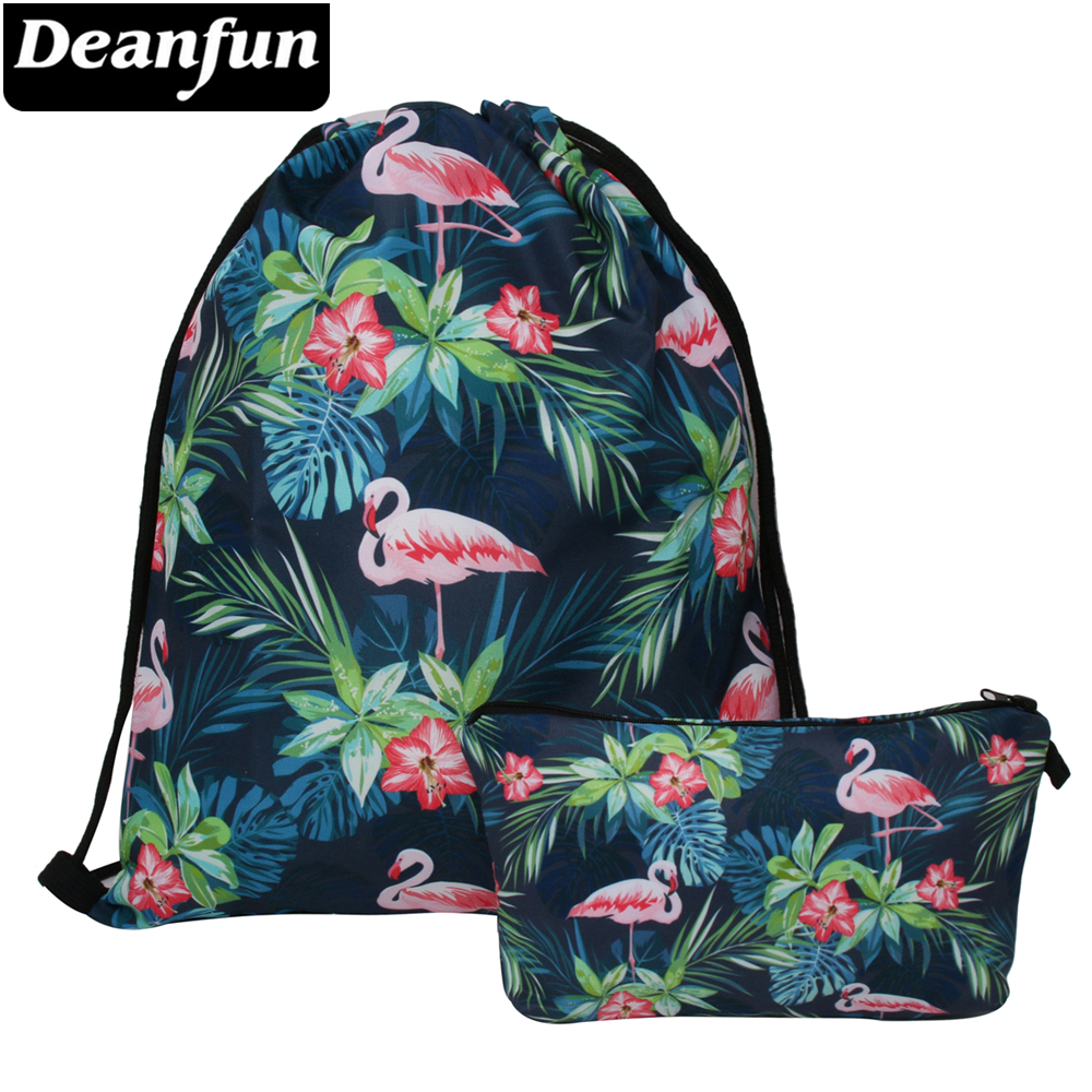 Deanfun 2PCS Set  Flamingo Drawstring Bag 3D Printed Fashion For Teenager School  027