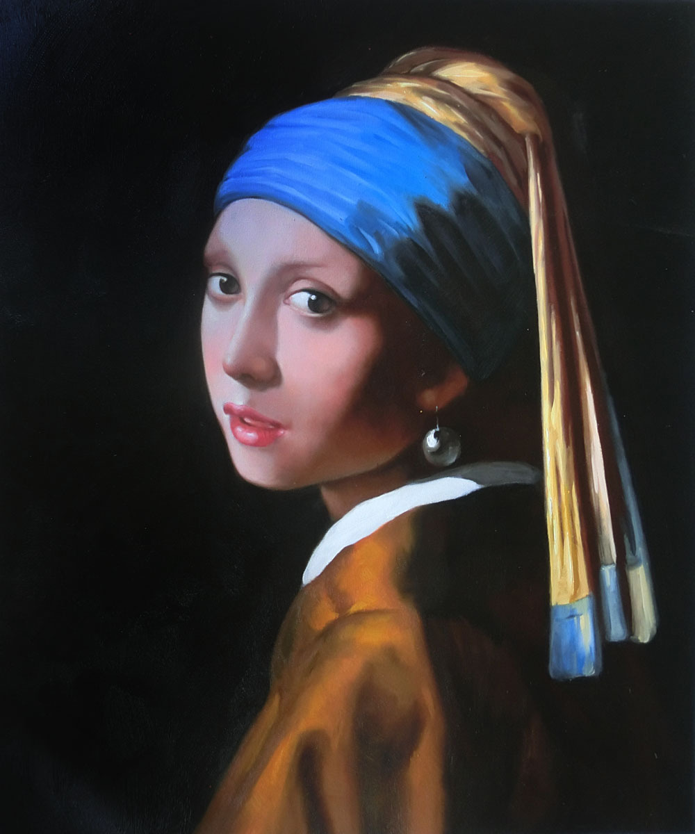 Hand-painted oil painting canvas,Girl with Pearl Earring by Johannes Vermeer painting Art Online, High quality,Modern Home decor