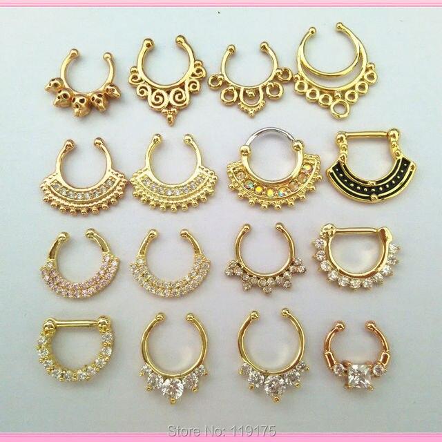 Punk Fake Septum Clicker Ring Hoop Nose Ring Fashion Nose Piercing