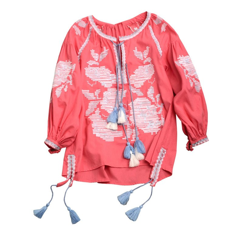 2018 Blusas Rose Embroidered Blouse Long Lantern Sleeve V-Neck Tassels Linen Tops Women Chic Ukraine Blouses Shirts