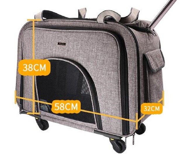 Pet supplies detachable trolley bag Foldable Dog pets case trolley luggage bag Silent wheel portable out of the trunk for pets