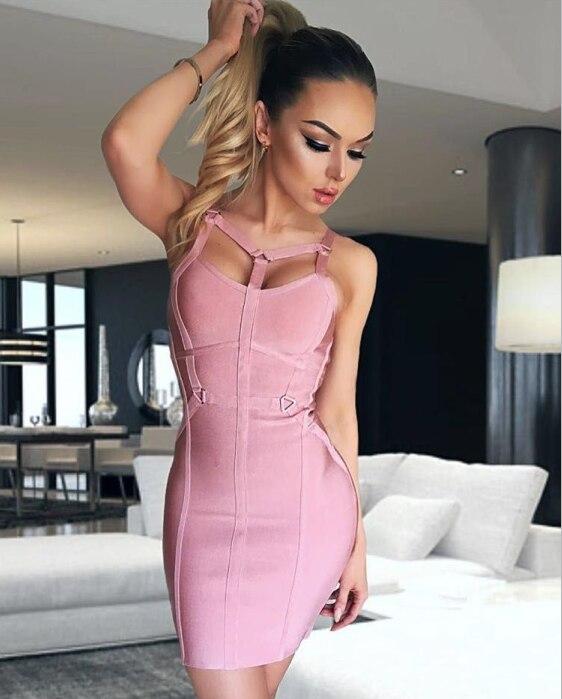 94ddb97d5 Cheap De alta calidad de color rosa sin mangas rayón vendaje vestido  Homecoming Party Bodycon vestido