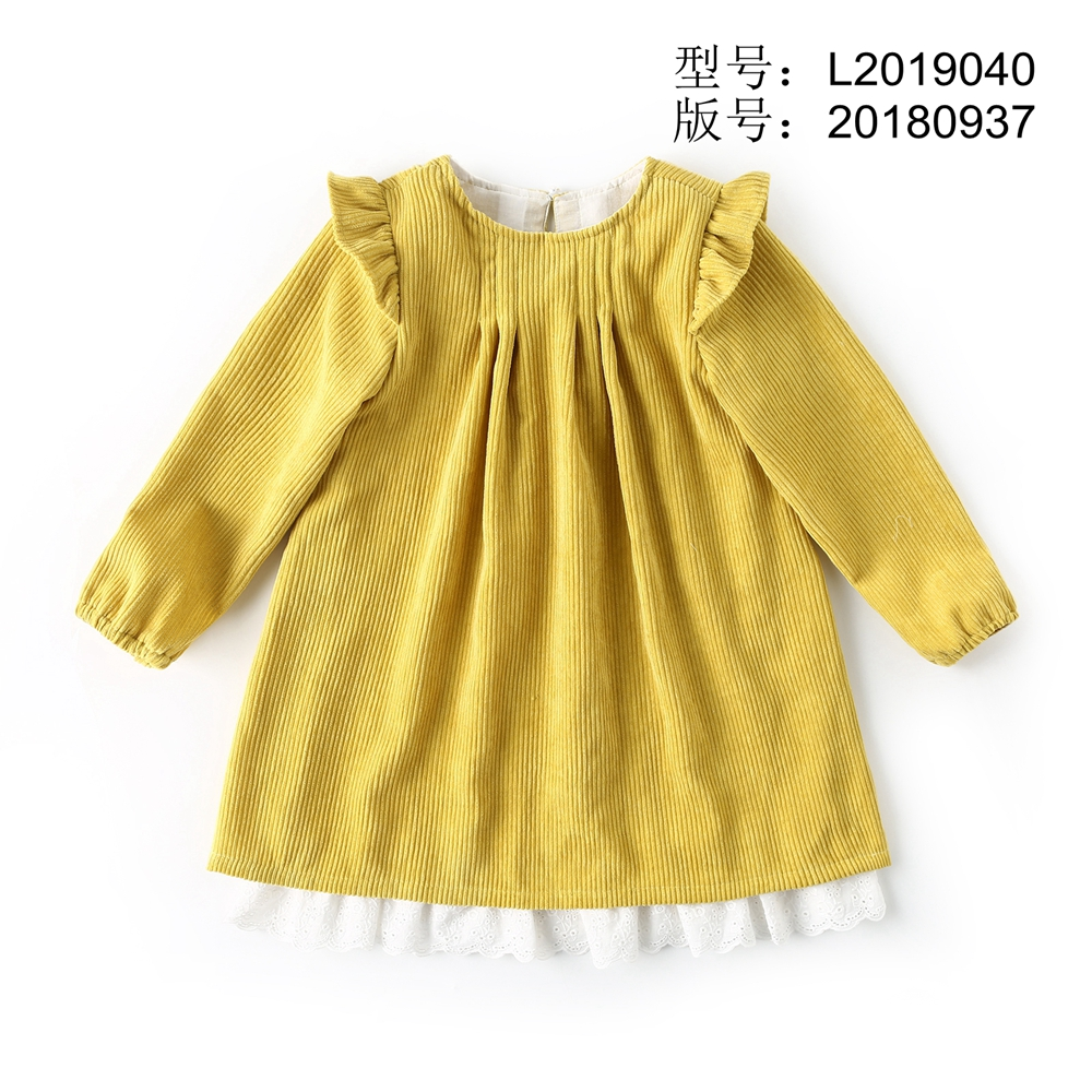 Dream Cradle Yellow Sweet dress with lace , Vintage corduroy dress Baby Girls spanish style Frock   Handmade Cotton Kids Dresses (2)