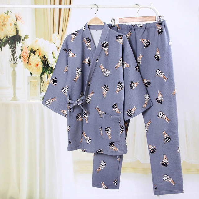 Japanese Yukata Winter Warm Pajamas Kimono Bathrobe Suits Robes Thickening  Cotton Tops Pants Sets Pyjamas Sleepwear Home Leisure 22eb03886