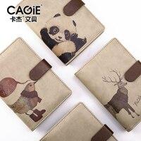 CAGIE Vintage Spiral Notebook A6 Kawaii Deer Bear Creative School Office Planner Agenda Filofax Travels Diary
