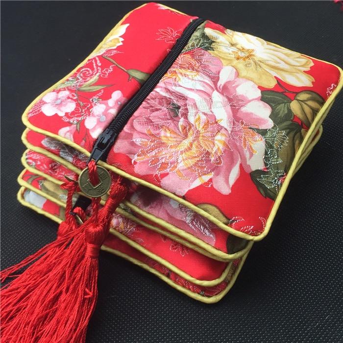 Tassel Flower Bronzing Small Zipper Purse Gift Bag Card Holder Jewelry Packaging Silk Brocade Cloth Trinket Storage Pouch 4pcs