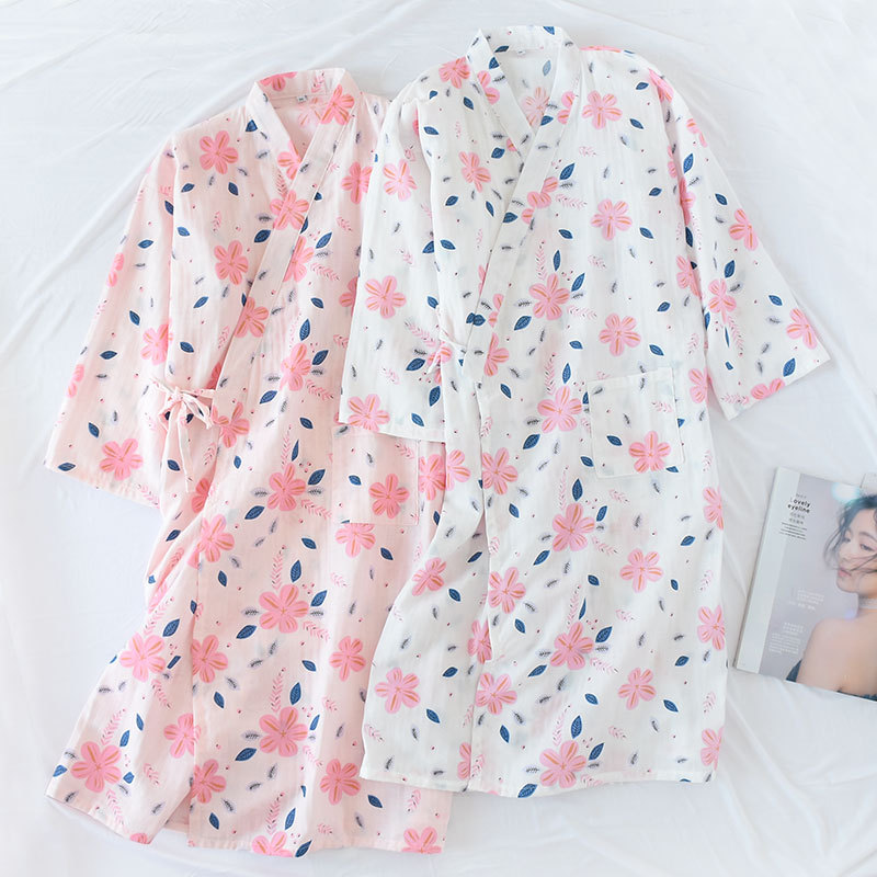 100% Baumwolle Gaze Kimono Bademantel Plus Größe Dame Sommer Japanischen Stil Lange Hülse Lose Dessous Robe Frauen Roben Nachtwäsche