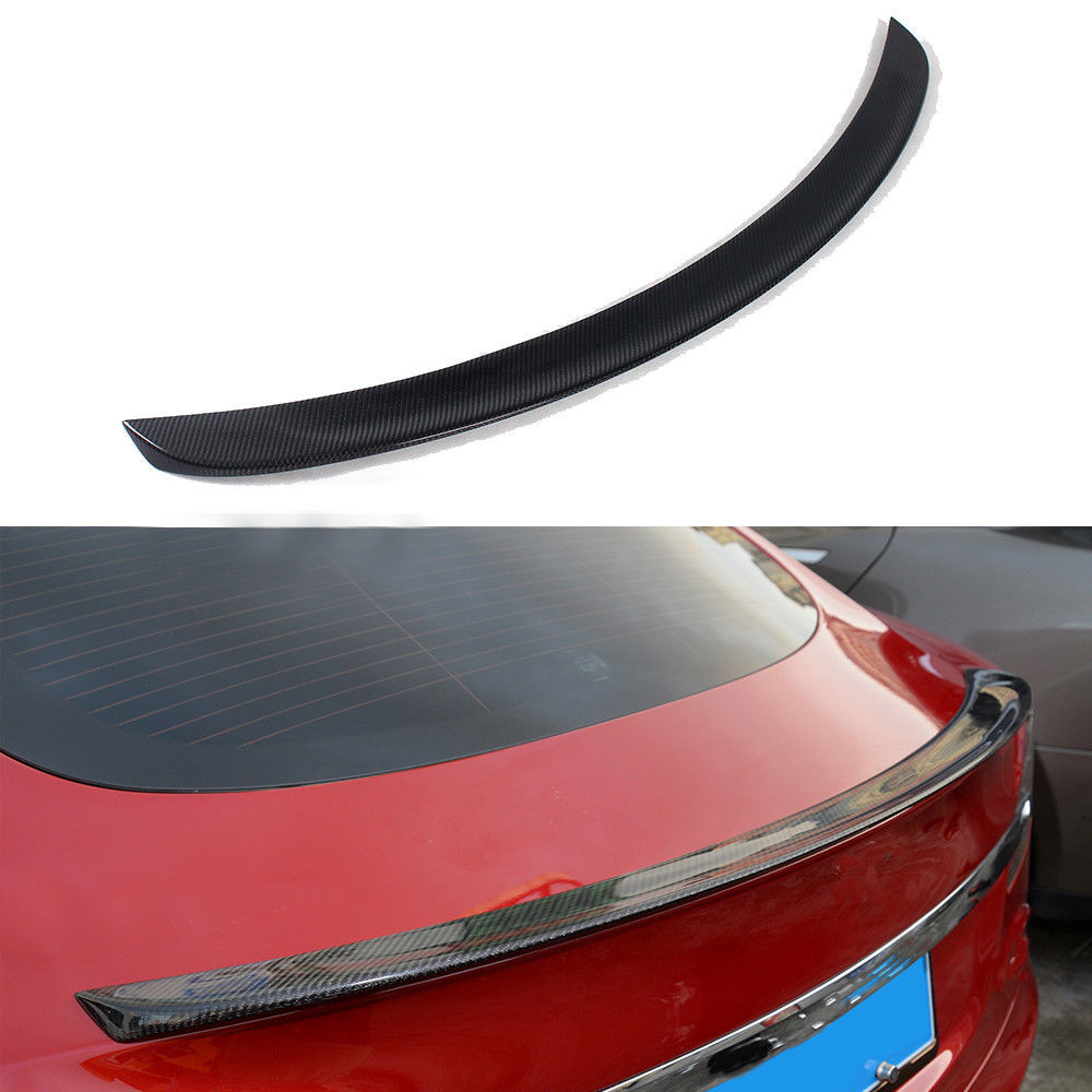 Brillant Noir En Fiber De Carbone Arrière de Voiture Tronc Boot Lip Spoiler Queue Aile pour Tesla Model S 2012-2017 Mat fini