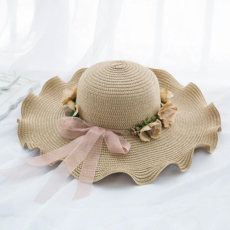 2019 Summer Straw Hat Kids Wave Brim Beach Hat Sun Hat Baby Girls Boys Outdoors Sunshade Panama Hat Kids Bone