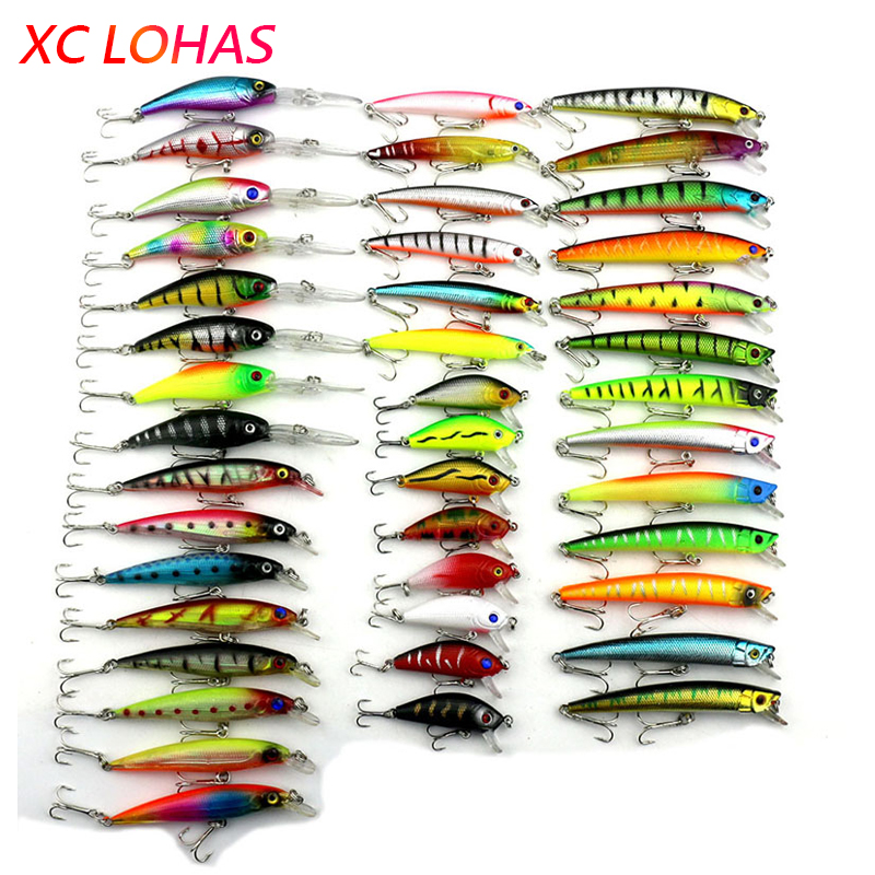 Hot 43pcs/lot Fishing Lure Mixed Color/Size/Weight Minnow Fishing Lures Hard Bait Fishing Tackle Free Shipping dagezi 5 pcs lot clear color fishing lures fishing bait wobbler 9cm 9g minnow bass lure crankbait tackle free shipping