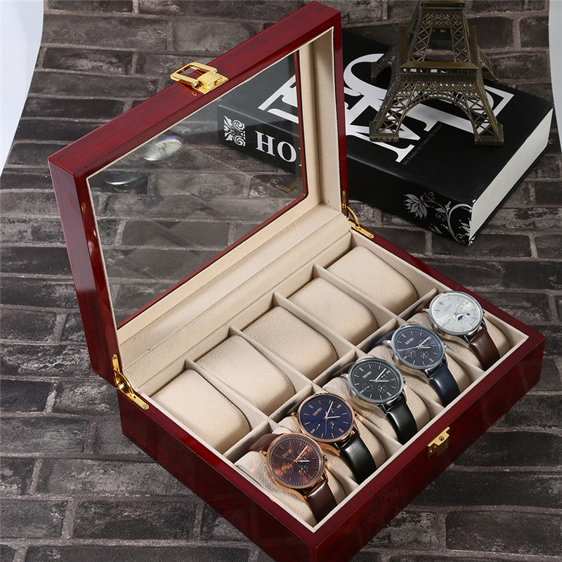 Luxury 10 Grids Slots Wooden Jewelry Watches Display Storage Box Case Antique Wrist Watch Collection Organizer Holder Box Gifts dark wine red wooden watch display box automatic switch and lock watches case jewelry storage holder organizer free shipping