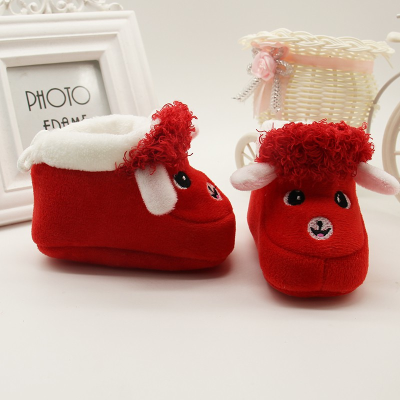 1 Pair Cartoon Winter Baby Shoes Alpaca Soft Bottom Non-slip Warm Boots Toddler Newborn Boys Girls First Walkers 6-12 Months 2