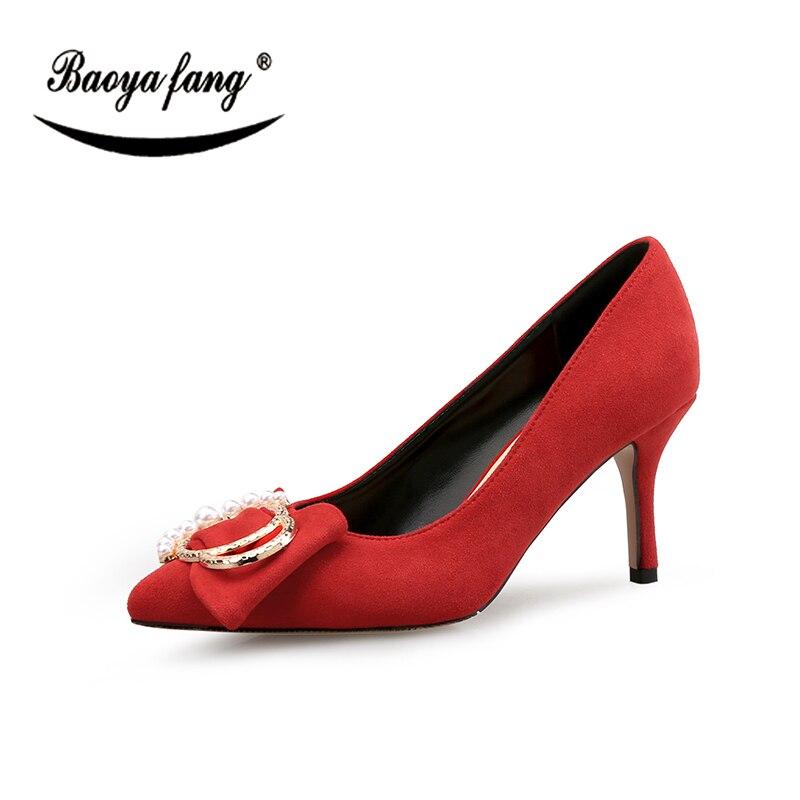 Nouveau Dames 8 Cm Baoyafang Pointu Femmes automne Mode Bout Gray Mince De Talon Printemps Mariage rouge Chaussures Parti b7gYyf6