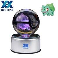 HUI YUAN Pokeball Bulbasaur 8CM Crystal 3D Laser Go Crystal Ball Mew LED Night Light Magic Ball for Children Christmas Gifts