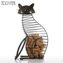 Tooarts Metal Cat Figurines Wine Cork Container Modern Style Iron Craft Gift Artificial Animal Mini Home Decoration Accessories
