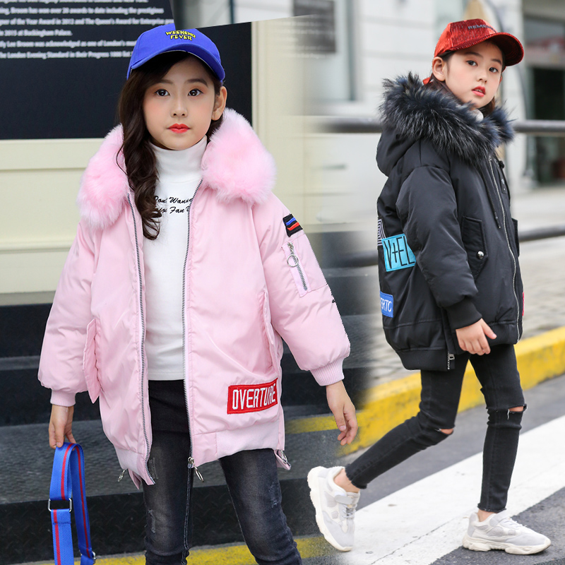 Russian winter 4-13 years Girls Winter coat Kids Children Outwear hooded Long Down coat warmth Fur collar embroidered letters domani