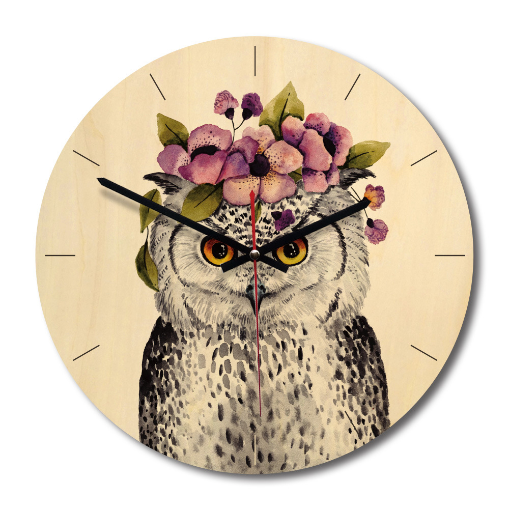 Silent Wooden Wall Clocks Quartz Circular Needle Antique Wood Hanging Clocks Gift Cartoon Owl Printed Vintage Watch Home Decor