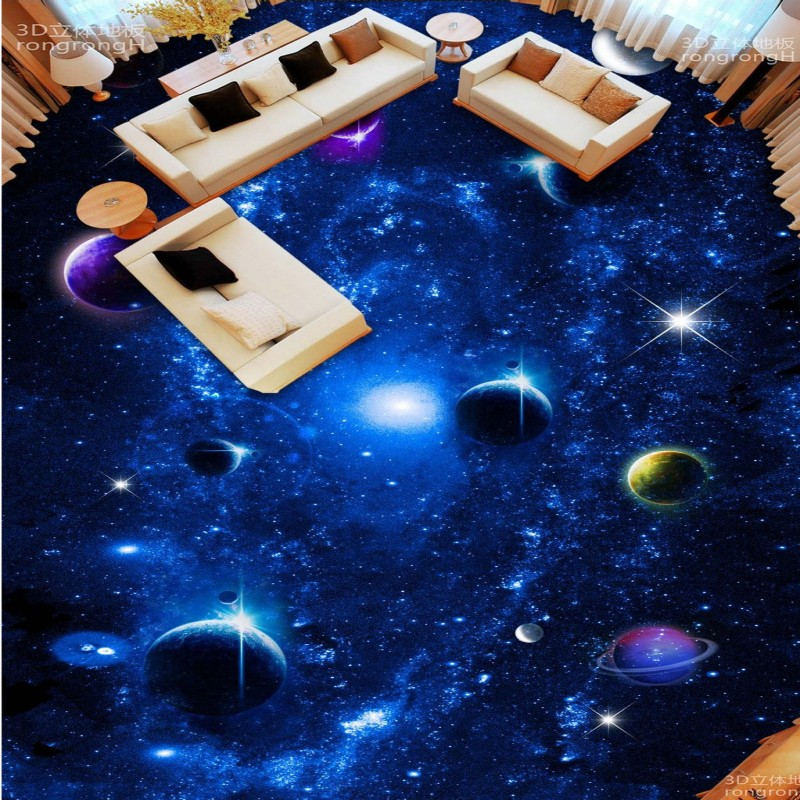 цены  Free Shipping Universe Galaxy 3D Stereo flooring wallpaper bedroom restaurant waterproof PVC floor wallpaper mural
