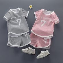 2019 new childrens tide short T sleeve two-piece summer baby cotton shorts set
