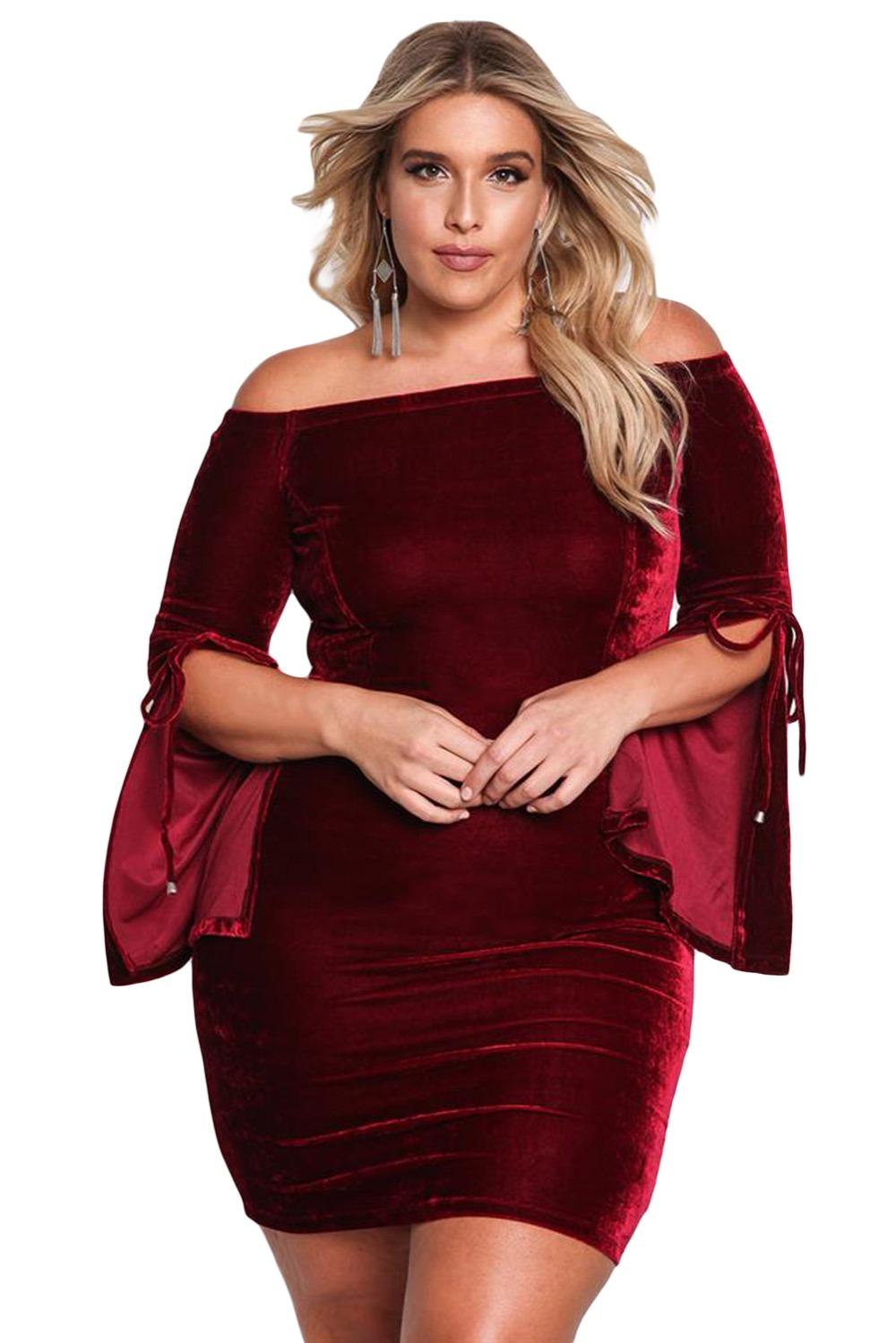 7e9dcc217f3 Zmvkgsoa Black Wine Ladies Plus Size XXXL Velvet Dress Long Sleeve ...