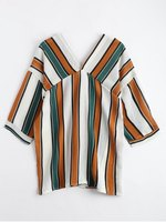 Contrast Color Striped Drop Shoulder Shirts Casual Loose V Neck Autumn Batwing Sleeve Sexy Blouse Tops